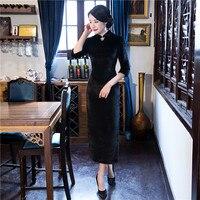 Summer Stylish Long Cheongsam Chinese Ladies Elegant Slim Polyester Qipao Novelty Dress Vestidos Size S M