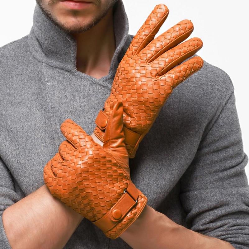 Hiver hommes gants en cuir gants en cuir véritable mode peau de mouton gant homme armure Plus velours chaud conduite gants livraison gratuite