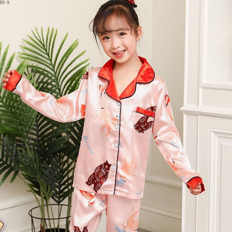 d76276555d47 Cheap Pijamas para niños 2019 verano niñas ropa de dormir de seda traje de  dibujos animados