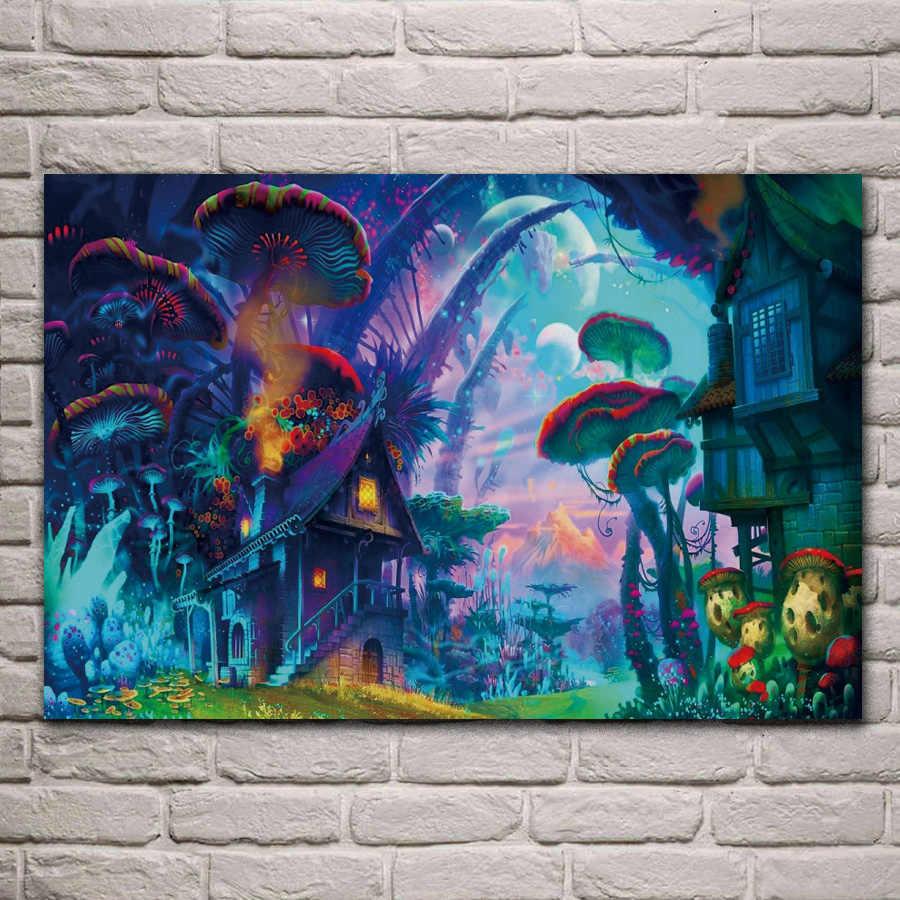 Fantezi Sanat Cizim Doga Psychedelic Renkli Ev Mantar Planet