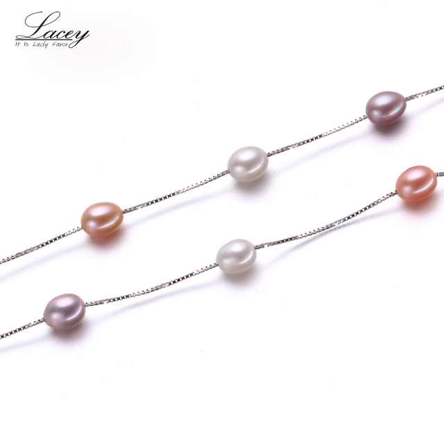 Muilt Natural pearl necklace 100% 925 sterling silver necklace, 6-7mm Real Cultured Freshwater pearl Jewelry for Women gifts
