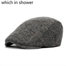 b032ec03bef27 Which in shower autumn thick warm beret for old men stripe British style winter  hat wool male flat cap male peaked duckbill bone