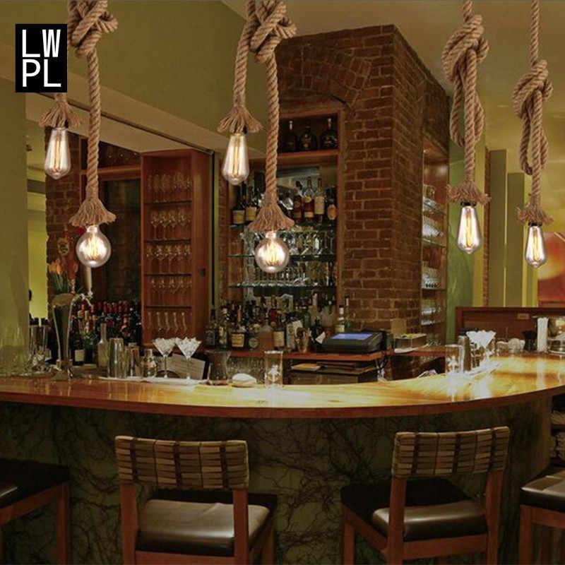 Industri Rami Tali Liontin Lampu untuk Ruang Tamu Rumah Lampu Dekorasi Lampu Vintage Loft LED Kilau Lampu Gantung