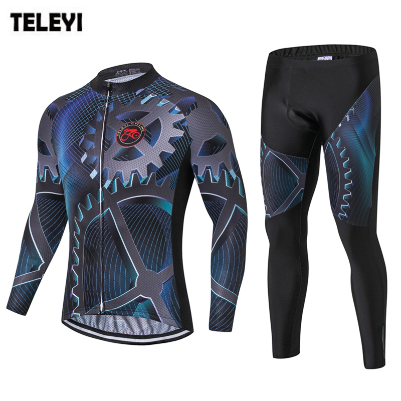 TELEYI Pro Team Cycling Long Sleeve Clothing Set Ropa Ciclismo MTB Bike Bicycle Shirts Pad Bib Pants Suit Cycling Wear Clothes