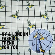 LEO&LIN Spring plaid dress shirt fabric bird polyester