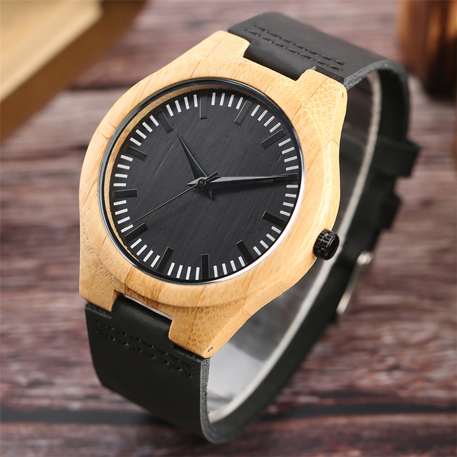 Black dial genuine leather band wood watch men08