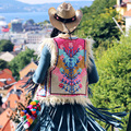 [AIGYPTOS-MX] Осень Зима Женщины Vintage Этническая Чешского Стиль Высокое Качество Роскошные Цветочные Вышивка Овечьей Шерсти Жилет И Пиджаки