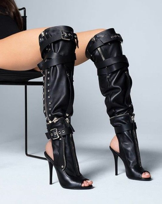 Sestito Woman Sexy Black Buckle Strap Motorcycle Boots Ladies Open Toe Sandals Boots Over the knee Boots Girls Slingback Shoes