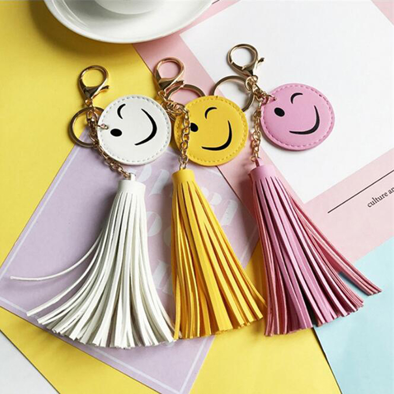 Women Purse Bag Charms Key Chains Cute Yellow Emoji Smiley Emoticon Leather Tassel Key Chains Smile Face Car Keys Ring