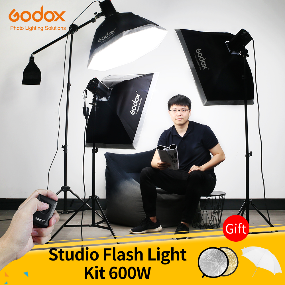 Godox 600Ws Strobe Studio Flash Light Kit 3pcs 200Ws Photographic Lighting - Strobes, Light Stands, Triggers, Soft Box