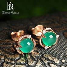 Begua Ringen New Arrival Rose Gold Color Chalcedony Stud Earrings For Women Silver 925 Jewelry Earrings Female Fine Jewelry Gift chalcedony pomegranate red corundum silver ways is high grade female stud earrings earrings
