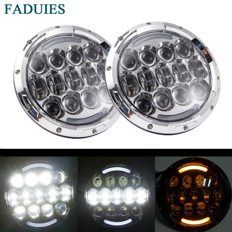 FADUIES 2PCS Chrome 105W 7 Inch LED Headlight Hi/lo Beam With White/ amber Turn Signal DRL For Jeep Wrangler Jk Tj Hummer H1 H2 black chrome 2pcs 7inch round 105w led headlight drl turn signal for jeep wrangler hummer 4x4 4wd suv driving headlamp