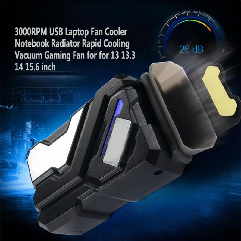 3000RPM USB Laptop Cooler Vacuum Gaming Fan Radiator Rapid Cooling for Notebook CPU