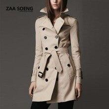 Hot High Quality Women Trench Coat  2016 Plus Size 100% Cotton Clothes Autumn  Winter Women Coat A0010
