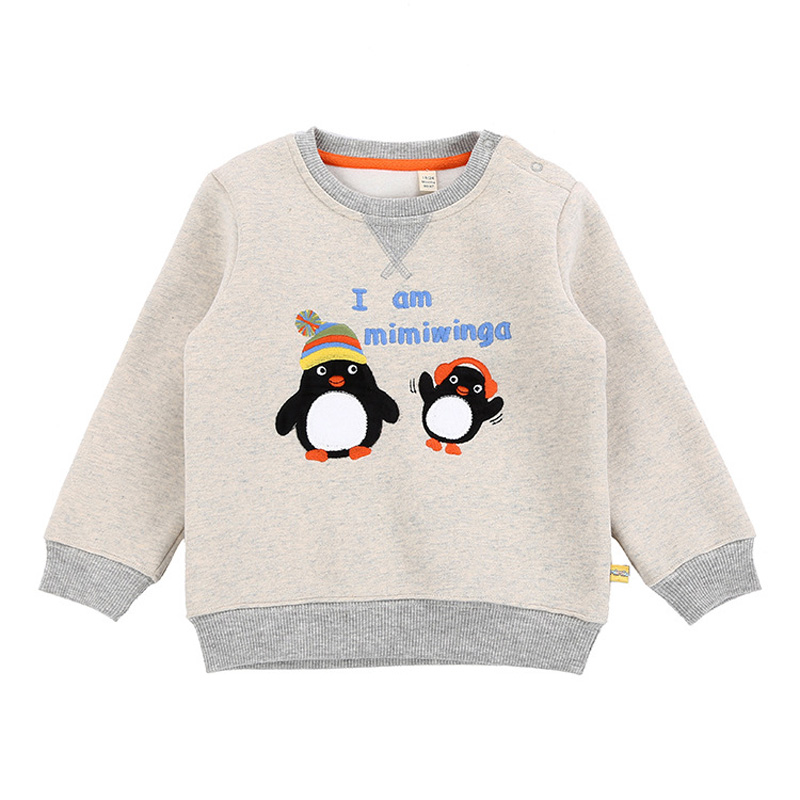2018 High Quality Children Jacket Baby Boys Fleece Cotton Penguin Embroidery Pattern Pullovers Toddlers Kid Jumpers Hoodies 1-5Y