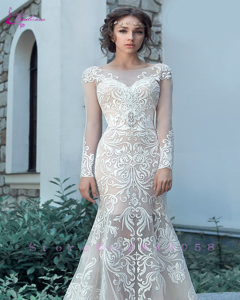 085c8521fa2 Aliexpress.com   Buy Waulizane Chic Tulle Bridal Gown Exquisite Embroidery  2019 O Neck 2 In 1 Detachable Train Wedding Dress Customize Made Plus Size  from ...