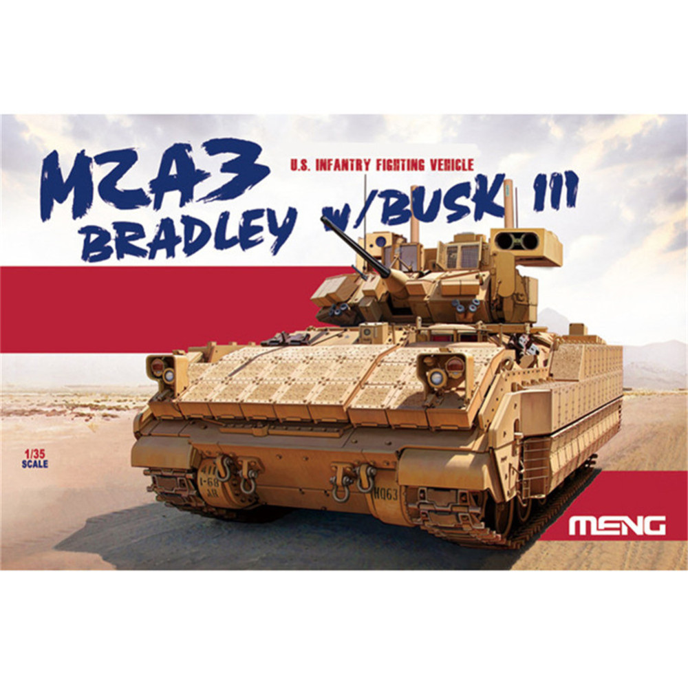 OHS Meng SS004 1/35 US Infantry Fighting Vehicle M2A3 Bradley w/BUSK III Military Plastic AFV Model Building Kits oh vorke v5 barebone mini pc intel kabylake 3865u 1 8 ghz support dual channel ddr4 ram m 2 hdmi dp ac wifi 1000 lan bluetooth 4 2