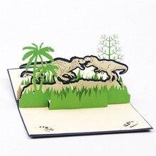 3D Laser Cut Handmade Cartoon Jurassic Period Dinosaur Paper Invitation Greeting Cards PostCard Children Kids Birthday Gift