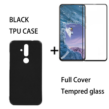 Clear TPU Back Cover Case For Nokia X71 Black 0.3MM 9H Full Tempered Glass Screen Protector 8.1 Plus
