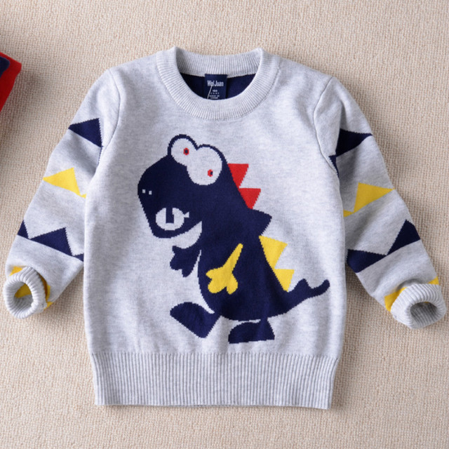 Winter New Boys and Children Cartoon Double Thick Warm Sweater Dinosaur Round Neck Pullover