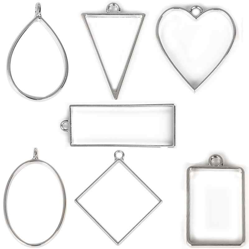 10Pcs Antique Silver Open Irregular Frame Charms Pendants Jewelry Crafts Making