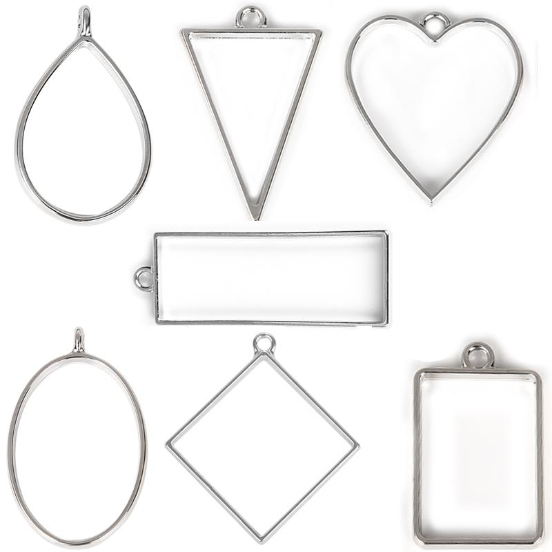 Open Back Bezel Frame Pendants Earrings Assorted Geometric Hollow UV Pressed Flower Frame Charms Resin Jewelry Making DIY