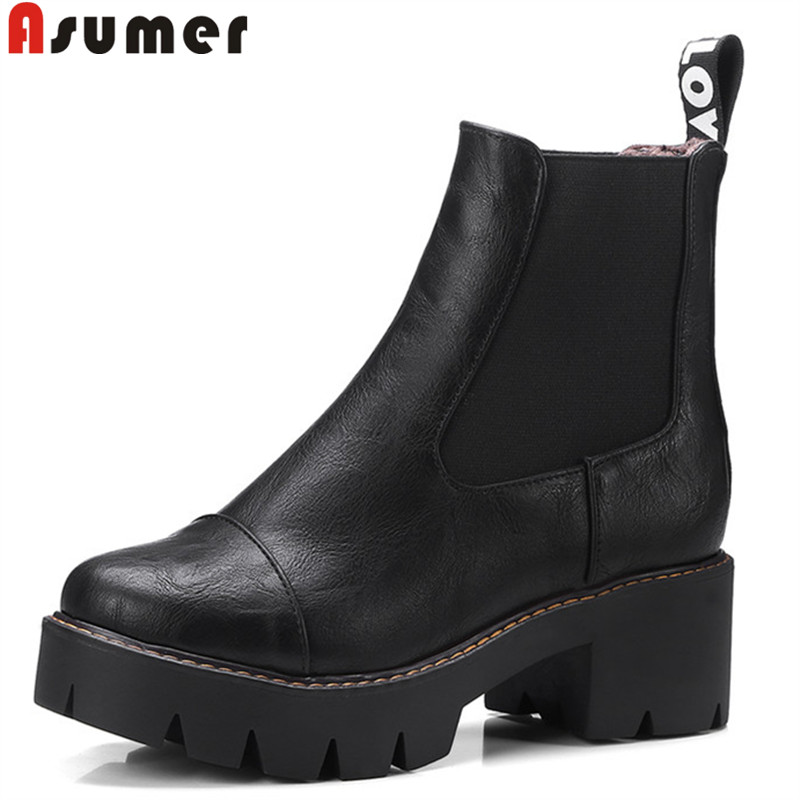 ASUMER 2018 fashion new shoes woman boots round toe platform ankle boots for women square high heels ladies boots big size 34-43 summer girl dress princess tutu toddler vestidos children clothing minnie sleeveless baby girls dresses casual kids clothes
