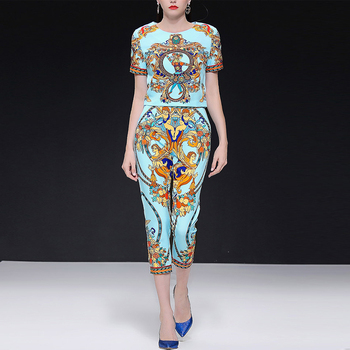 Runway Designer Diamonds Blue Floral Print Blouse Tops +Fashion Pants