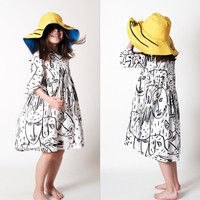 New Summer Wolf Rita Graffiti Print Half Sleeve Dress Designer Boutique Camoanimaux Dress For Toddler Girl