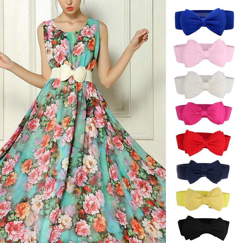 Fashion Women Bowknot Belt Lace Bow Dress Belt For Girls Dresses High Quality Elastic Waist Vintage Belts Cummerbunds