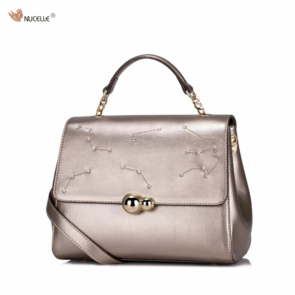 NUCELLE Brand New Design Diamonds Constellation Women's Fashion PU Leather Girls Ladies Shoulder Bags Handbag Purses Retro Gold