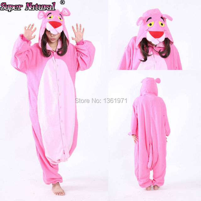 HKSNG Cheap DHL Party Leopard Pink Panther Pajamas Animal Winter Warm Women  Onesies Adult Kigurumi Cosplay aa60be945