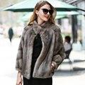 De Moda de lujo Completa Escudo Pelt Piel de Visón Real Abrigo de Pieles Mujer Gruesa Caliente delgado Mujeres Chaqueta de Invierno Real de Piel De Visón abrigos De Piel Natural Mex