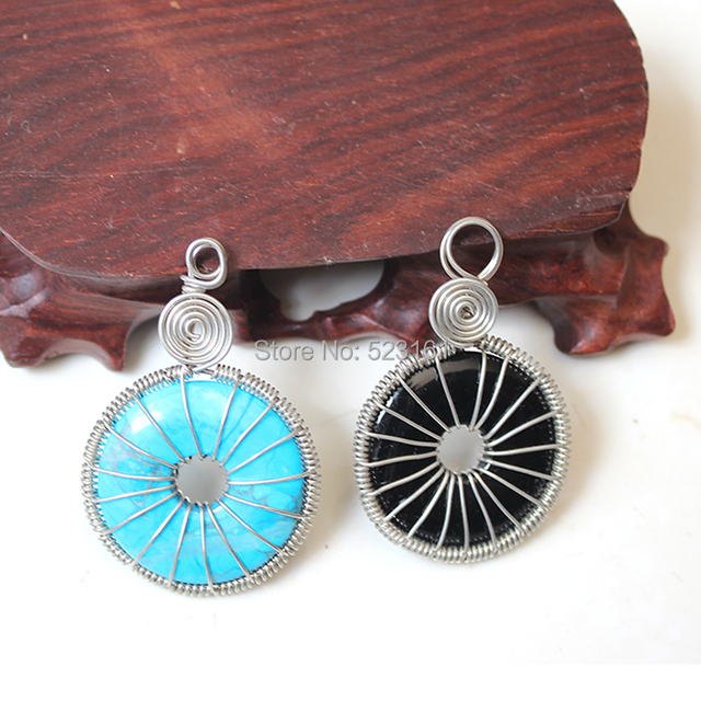 Natural wire wrapped polished donut disc crystal pendant blue natural wire wrapped polished donut disc crystal pendant blue turquoise tiger eye aventurine jasper agate crystal mozeypictures Choice Image
