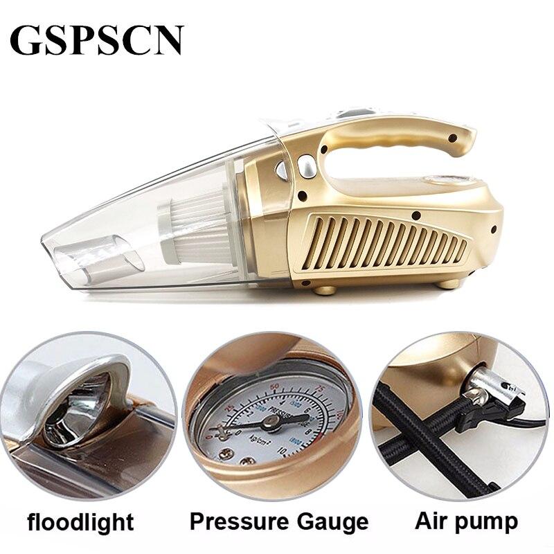 GSPSCN Multi-função Portátil Carro Aspirador de pó 12 V 120 W Molhado e Aspirador de Pressão Pneumática Pneu Iluminação inflável bomba