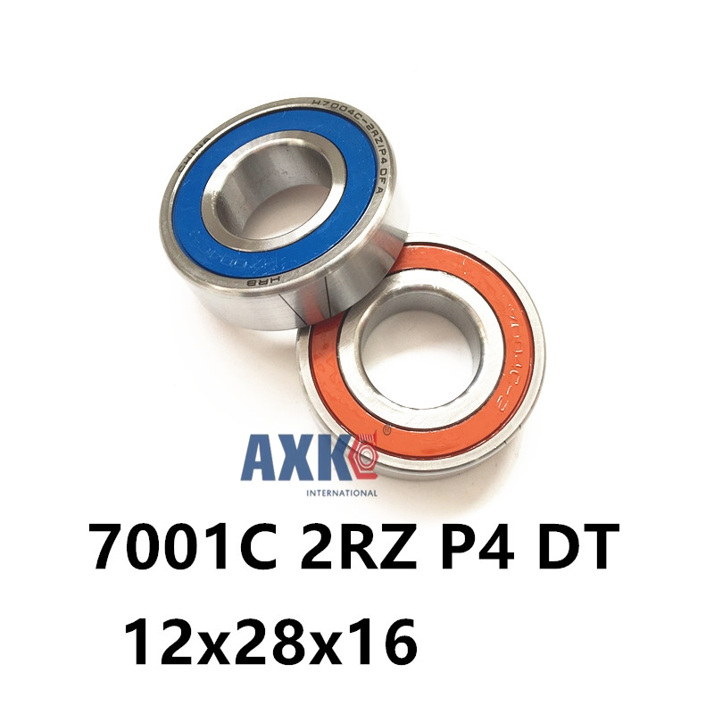 1 Pair AXK  7001 7001C 2RZ P4 DT 12x28x8 12x28x16 Sealed Angular Contact Bearings Speed Spindle Bearings CNC ABEC-7 1 pair mochu 7005 7005c 2rz p4 dt 25x47x12 25x47x24 sealed angular contact bearings speed spindle bearings cnc abec 7
