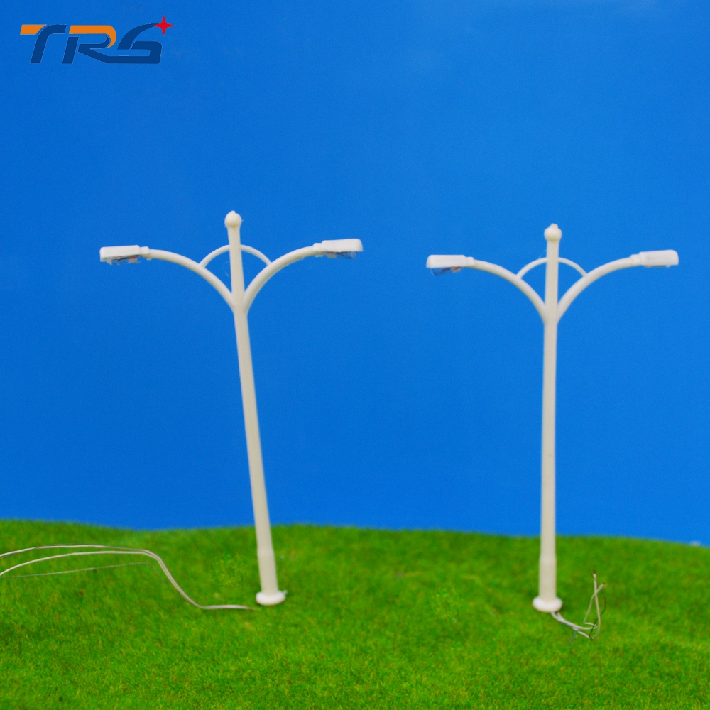 9cm Model Train Layout Scenery Street Lights Lamppost Dual Head For Trains Scale 1150 Pack Of 10 Generic