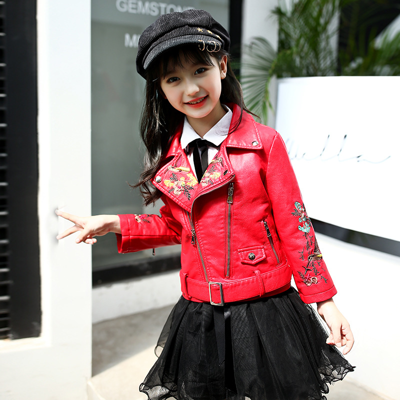 Spring Autumn Kids Leather Jacket Girls PU Jacket Leather Outwear For Girls Baby Girl Jacket Coat With Embroidery Pattern munich night 5p 61731