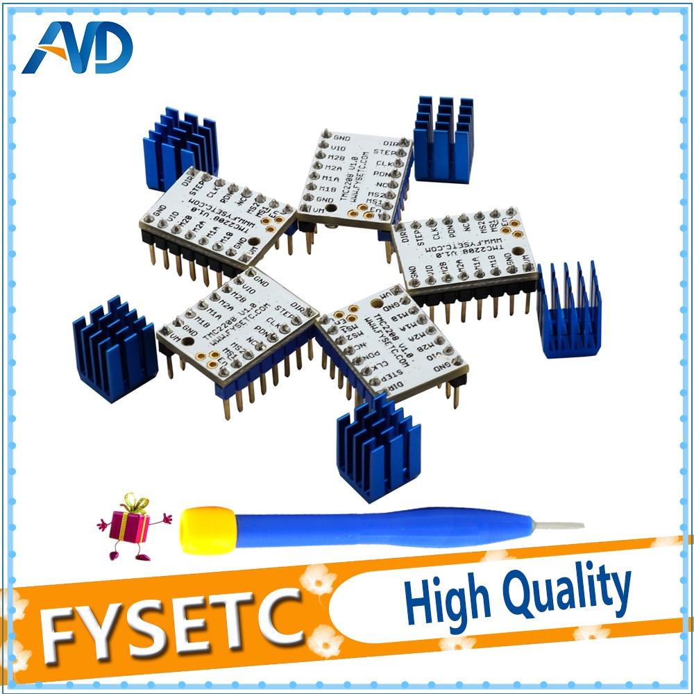 5pcs Super Silent TMC2208 V1.0 Stepstick Stepper Motor Driver Module + Heat Sink For 3D Printing Motherboard Aim VS TMC2100