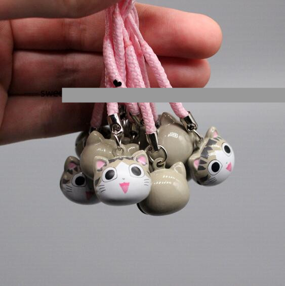 New LOT 10PCS Cute Cartoon Japanese Anime Cats Head Pendant Cell Phone Charm Strap JINGLE BELLS Dangle Figures