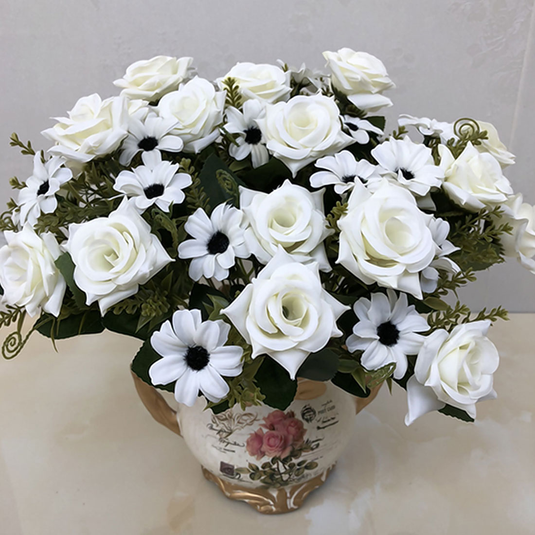 Lowered French Rose 1 Bunch Artificial Floral Bouquet Fake Silk