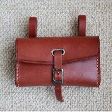 Q364  free shipping Retro bicycle Hang back bag Handmade Pure cowhide saddle bag Handlebar Bag bike equipment Brown Pure leather