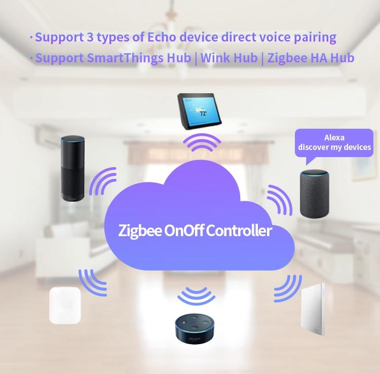 Lonsonho Wireless Zigbee Switch DIY Relay 10A Smart Home Automation Modules  Compatible Echo Alexa SmartThings Hub Remote Control