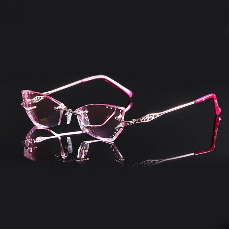 Ultra light rimless glasses diamond trimming glasses fashion woman beautiful temperament prescription glasses myopia hyperopia