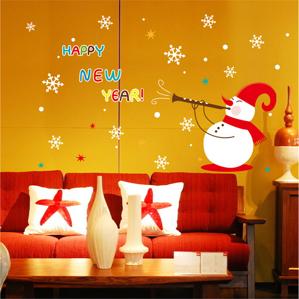 Merry Christmas!Snowman vinyl wall stickers for kids rooms children ...