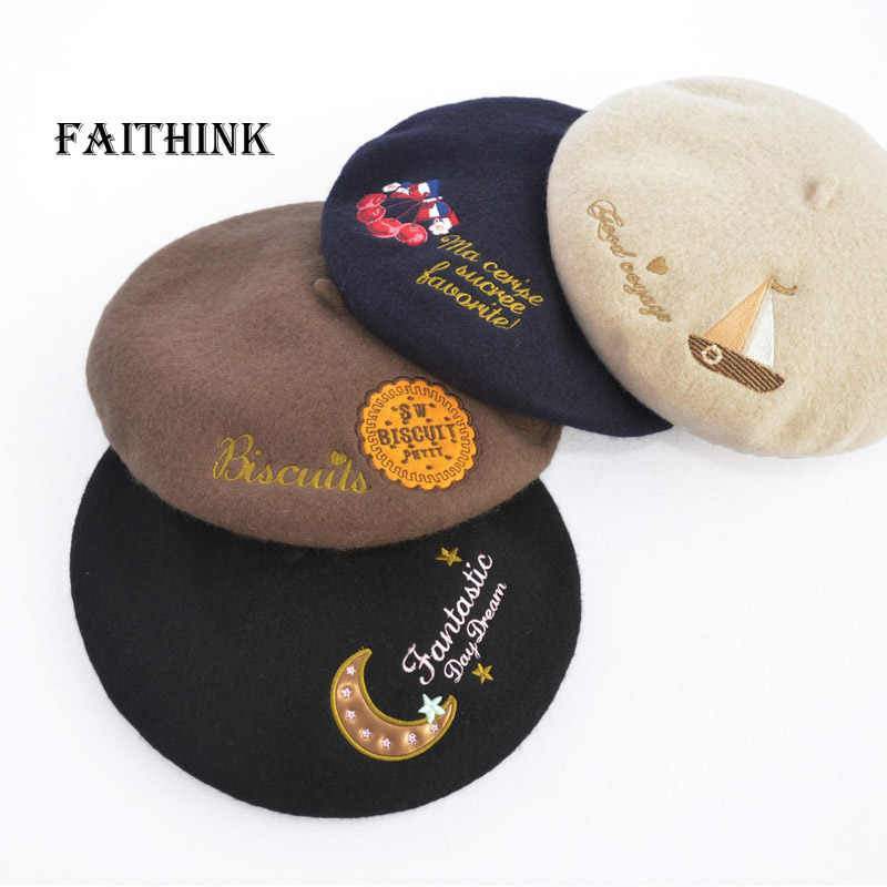 4ac1aa4cd0b50 Fashion 100% Wool Women Sweet Heart Print Beret Embroidery College Style  Alice Designer Cap Hat