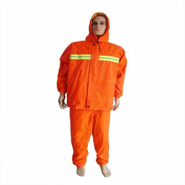 The New  Waterproof Raincoat Wear A Hat Orange Sanitation Safety Reflective Suit Sanitation Smock Workwear Uniforms Clothing
