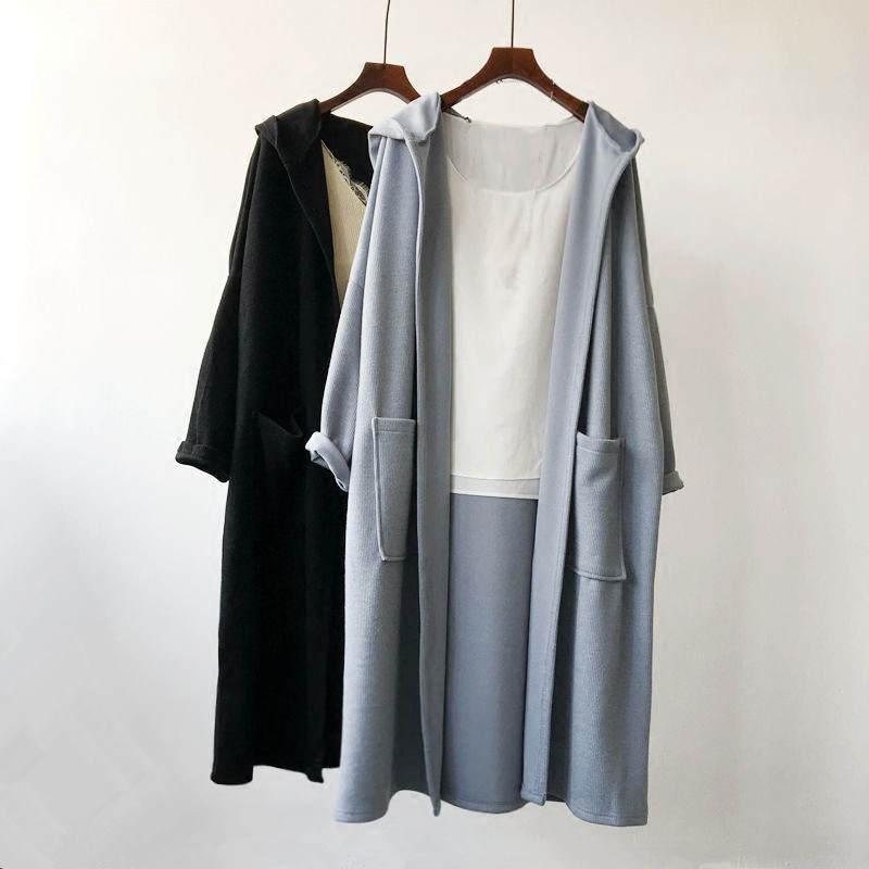 Knit Style Hooded   Trench   Coat For Women Double Pockets Loose Windbreaker Female Plus Size Long Women Coat Casual Outerwear C5276