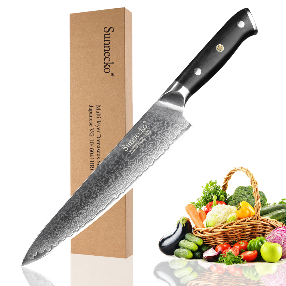 SUNNECKO 8 Chef Knife 73 Layers Damascus Steel Japanese VG10 Blade Kitchen Knives G10 Handle Meat