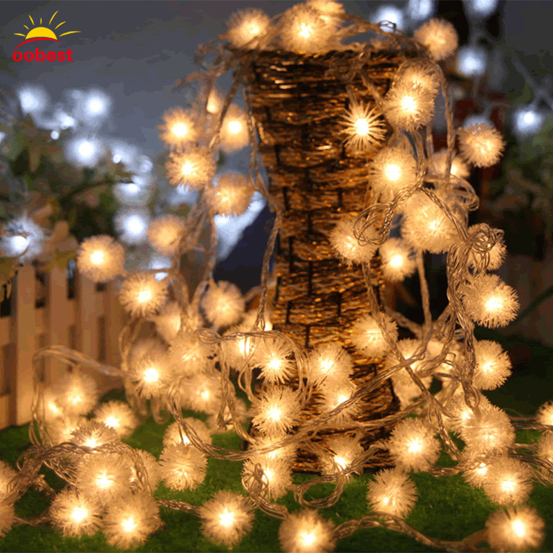 Oobest Chrismas LED Strip Light Snow 30 LED Ball Lights Outdoor Patio Lantern Lights Dandelion Decoration String Lights
